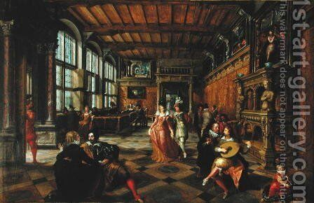 Scene of a Ball in a Flemish Interior by Hans Vredeman de Vries - Reproduction Oil Painting