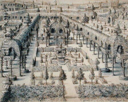 Design for an Ornamental Garden, 1576 by Hans Vredeman de Vries - Reproduction Oil Painting