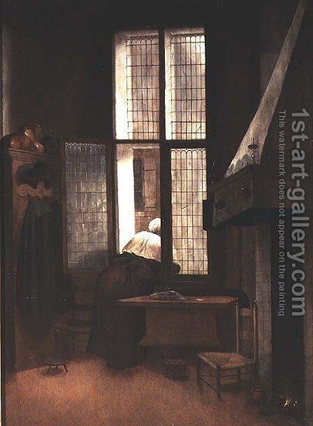Woman at a Window, 1654 by Jacobus Vrel - Reproduction Oil Painting