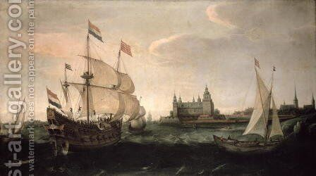 Dutch Ships in Front of the Danish Coast, 1612 by Cornelis Hendricksz. The Younger Vroom - Reproduction Oil Painting