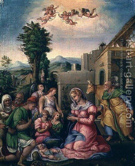 The Adoration of the Shepherds by (circle of) Ubertini, (Bacchiacca) - Reproduction Oil Painting