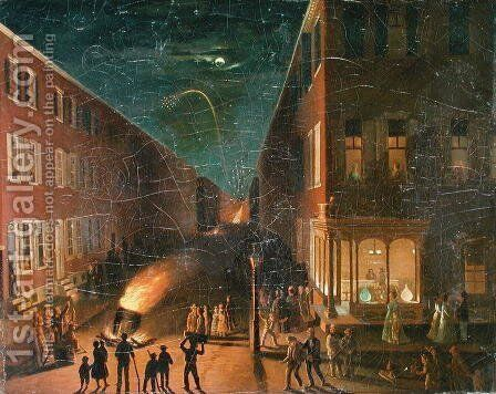 Election Night Bonfire, 1864 by Bernard Uhle - Reproduction Oil Painting
