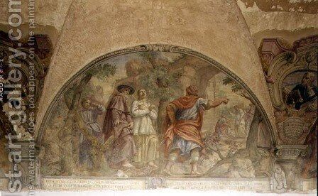 St. Dominic Converting a Heretic, lunette from the fresco cycle of the Life of St. Dominic, in the cloister of St. Dominic, c.1698 by Cosimo Ulivelli - Reproduction Oil Painting
