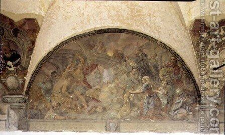 St. Dominic Resurrecting Forty Drowned Pilgrims, lunette from the fresco cycle of the Life of St. Dominic, in the cloister of St. Dominic, c.1698 by Cosimo Ulivelli - Reproduction Oil Painting