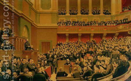 Louis Adolphe Thiers 1797-1877 Acclaimed by the National Assembly, 16th June 1877 by Benjamin Ulmann - Reproduction Oil Painting