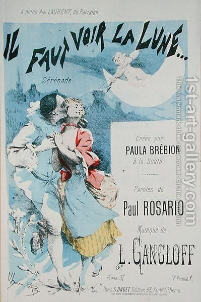 Front cover of a score for Il Faut Voir la Lune, music by L. Gangloff, text by Paul Rosario, created by Paula Brebion at La Scala by Jean Ulysse-Roy - Reproduction Oil Painting