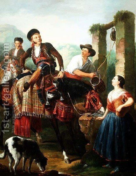 At The Well by Carl-Hendrik d Unker - Reproduction Oil Painting