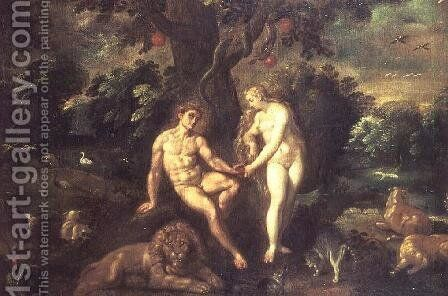 Adam and Eve by J. Urselincx or Urseline - Reproduction Oil Painting