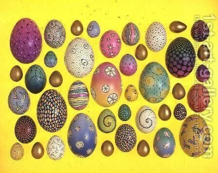 Painted eggs by Cathy Usiskin - Reproduction Oil Painting