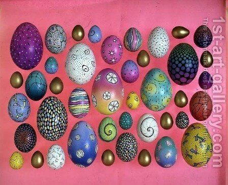 Painted eggs 3 by Cathy Usiskin - Reproduction Oil Painting