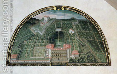 Fort Belvedere and the Pitti Palace from a series of lunettes depicting views of the Medici villas, 1599 by Giusto Utens - Reproduction Oil Painting