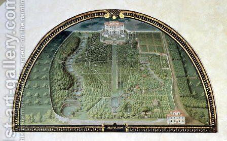 Villa Pratolino Demidoff from a series of lunettes depicting views of the Medici villas, 1599 by Giusto Utens - Reproduction Oil Painting