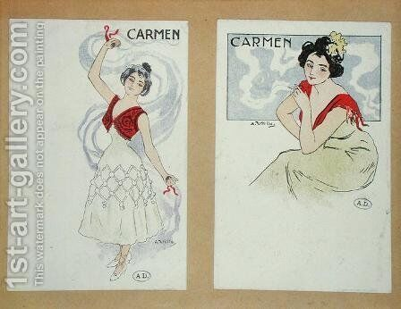 Two postcards depicting Carmen, from the opera of the same name, c.1900 by A. Utrillo - Reproduction Oil Painting