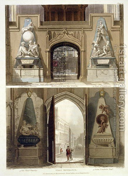 The Entrance into the Choir and the West Entrance, plate 20 from Westminster Abbey, engraved by J. Bluck fl.1791-1831 pub. by Rudolph Ackermann 1764-1834 1812 by Thomas Uwins - Reproduction Oil Painting