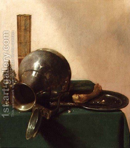 Still life with an overturned jug, c.1632-37 by Jan Jansz. den Uyl - Reproduction Oil Painting