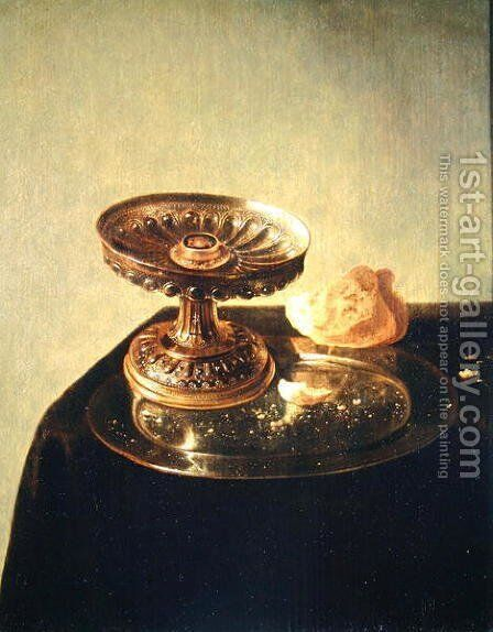 Still life with a pewter plate and bread by Jan Jansz. den Uyl - Reproduction Oil Painting