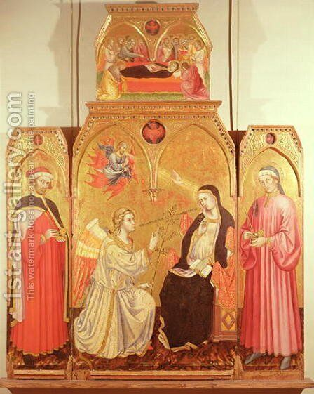 The Annunciation with St. Cosmas and St. Damian, 1409 by Taddeo Di Bartolo - Reproduction Oil Painting