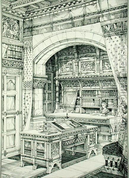 Study, from Examples of Ancient and Modern Furniture, by Bruce Talbert, 187 by Bruce James Talbert - Reproduction Oil Painting