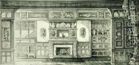 Screen Decoration, from Examples of Ancient and Modern Furniture, 1876 by Bruce James Talbert - Reproduction Oil Painting