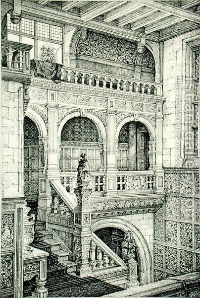 Staircase in Jacobean Style, from Examples of Ancient and Modern Furniture, by Bruce Talbert, 1876 by Bruce James Talbert - Reproduction Oil Painting