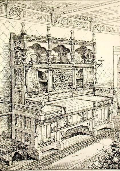 Sideboard, from Examples of Ancient and Modern Furniture, by Bruce Talbert, lithograph by S. Ayling by Bruce James Talbert - Reproduction Oil Painting