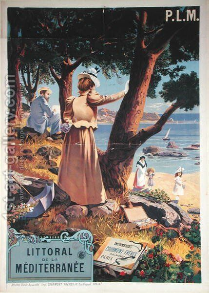 Poster advertising the P.L.M. Railway Paris-Lyon-Mediterranee to the Mediterranean coast, before 1899 by Henri-Garnier Tanconville - Reproduction Oil Painting