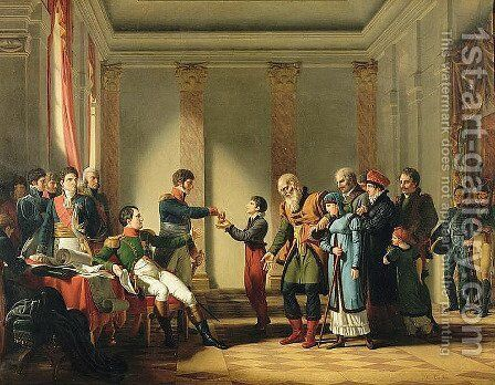 Napoleon Bonaparte 1769-1821 Giving a Pension of A Hundred Napoleons to the Pole, Nerecki, aged 117 years, January 1807, 1812 by Jean-Charles Tardieu - Reproduction Oil Painting