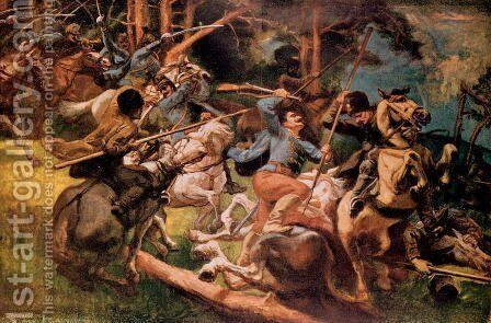 Hungarian Hussars and Russian Cossacks Fighting in the Carpathian Mountains in 1915 by (after) Tardos, Viktor - Reproduction Oil Painting