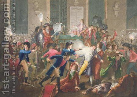 The Arrest of Robespierre, The Night of the 9th to 10th Thermidor, Year II, 27th July 1794 by Jean Joseph Francois Tassaert - Reproduction Oil Painting