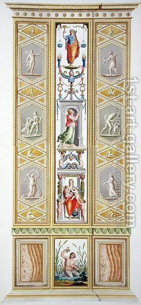 Panel from the Raphael Loggia at the Vatican, from Delle Loggie di Rafaele nel Vaticano, engraved by Giovanni Volpato 1735-1803, 1776 published c.1776-77 by (after) Taurinensis, Ludovicus Tesio - Reproduction Oil Painting