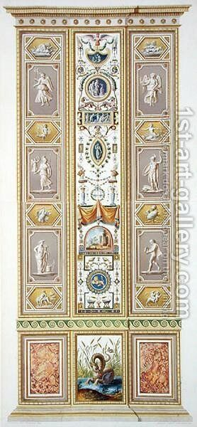 Panel from the Raphael Loggia at the Vatican, from Delle Loggie di Rafaele nel Vaticano, engraved by Giovanni Volpato 1735-1803, 1775, published c.1776-77 by (after) Taurinensis, Ludovicus Tesio - Reproduction Oil Painting