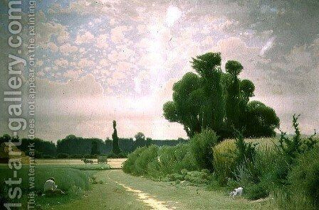Landscape with a man resting by a path by Henri Tavel - Reproduction Oil Painting