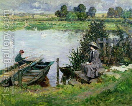The Thames at Benson, 1912 by Albert Chevallier Tayler - Reproduction Oil Painting