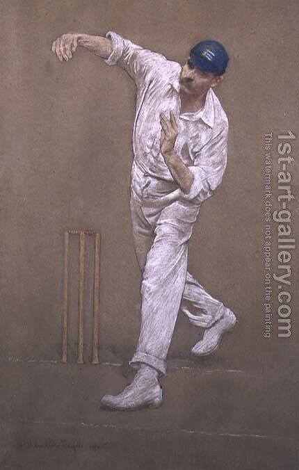 G.W.Beldam bowling by Albert Chevallier Tayler - Reproduction Oil Painting