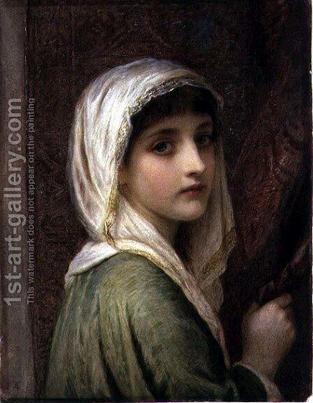 Girl in a white and gold headscarf by Edward Tayler - Reproduction Oil Painting