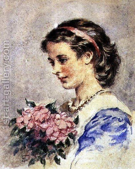 Young Girl with a Bunch of Pink Flowers by Edward Tayler - Reproduction Oil Painting