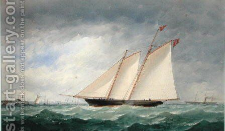 Schooner Yacht off Ryde, Isle of Wight by Charles Taylor - Reproduction Oil Painting