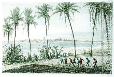 General View of Cadiz, engraved by John Pye 1782-1874 by J. Taylor - Reproduction Oil Painting