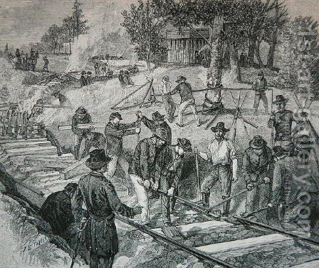 Troops destroying a railroad track by James E. Taylor - Reproduction Oil Painting