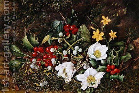 Holly and Christmas Roses by Jane Taylor - Reproduction Oil Painting