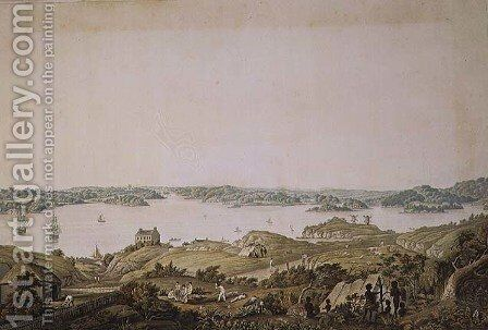 Part of the harbour of Port Jackson and the country between Sydney and the Blue Mountains, New South Wales, right section of a panoramic view, c.1821 by (after) Taylor, Major James - Reproduction Oil Painting