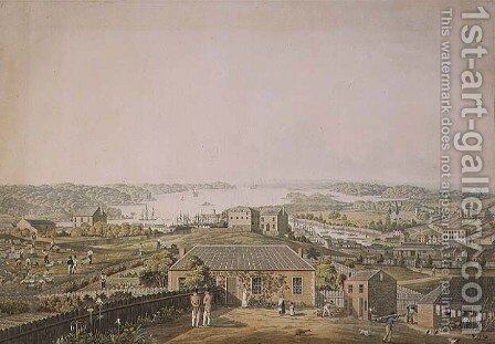 The Entrance of Port Jackson, and part of the town of Sydney in New South Wales, left section of panoramic view, c.1821 by (after) Taylor, Major James - Reproduction Oil Painting
