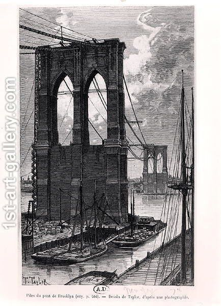 Brooklyn Bridge Under Construction, drawn after a photograph, 1878 by T. Taylor - Reproduction Oil Painting
