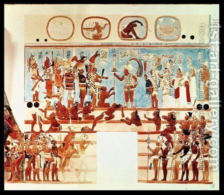 Copy of a wall painting from Bonampak depicting Mayan priests and nobles judging prisoners of war by Antonio de Tejeda - Reproduction Oil Painting