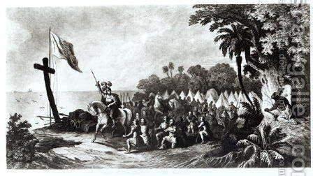 The Landing at Tampa Bay- De Soto and his Followers Swearing to Conquer or Die, engraved by John Sartain by (after) Telfer, R. - Reproduction Oil Painting