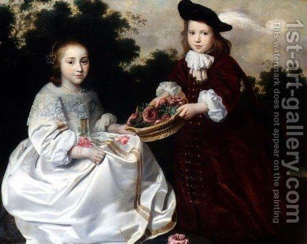 Two Children in a Landscape by Abraham van den Tempel - Reproduction Oil Painting