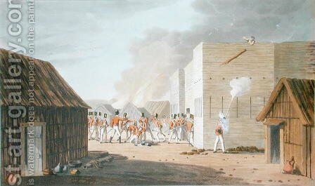 The Storming of a large Storehouse near Rus ul Khyma where Capt. Dancey of HM 65th Regt. was killed, November 13th 1809, from Sixteen Views of Places in the Persian Gulph taken in the Years 1809-10 illustrative of the Proceedings of the Forces employd o by (after) Temple, R. - Reproduction Oil Painting