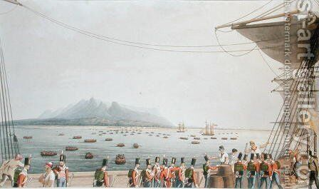 View from the Deck of the Upton Castle Transport, of the British Army Landing, 29th November 1810, from Sixteen Views of Places in the Persian Gulph, taken in the Years 1809-10 illustrative of the Proceedings of the Forces employd on the expedition sent by (after) Temple, R. - Reproduction Oil Painting
