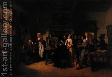 Rembrandt 1606-69 visiting the studio of Gabriel Metsu 1629-87 by Herman Frederick Carel Ten Kate - Reproduction Oil Painting