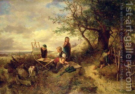 During the absence of the Painter by Herman Frederick Carel Ten Kate - Reproduction Oil Painting